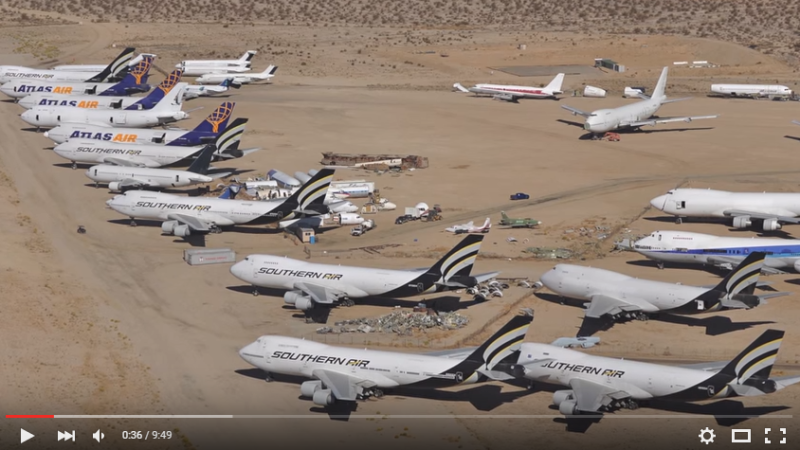 "A flight over the ""Airplane Graveyard"" at Mojave Airport in California."