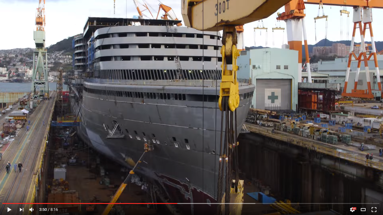A stunning Timelapse of a cruise ship being built